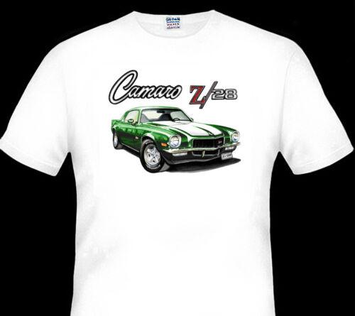 1971 CHEVY  Z//28  CAMARO  QUALITY WHITE  TSHIRT  BIG FIT 6 CAR COLOURS