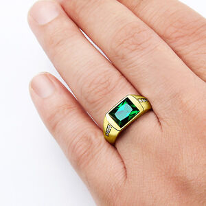 mens solid 10k gold emerald ring natural diamonds. Black Bedroom Furniture Sets. Home Design Ideas