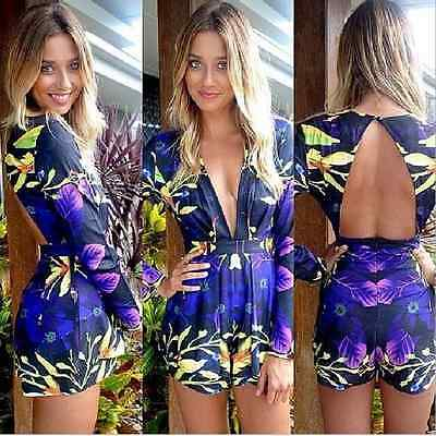Sexy Women Celeb Floral Print Playsuit Summer Ladies Dress Shorts Jumpsuit
