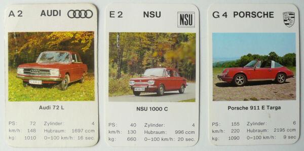3 Einzelkarten Auto Quartett Ass Porsche 911 E Targa / Nsu 1000 C / Audi 72 L Zahlreich In Vielfalt