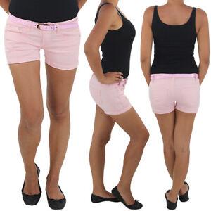Hot-Pants-mit-Guertel-Hotpants-Jeans-Shorts-Kurze-Hose-Capri-Hueft-Stretch-B123r