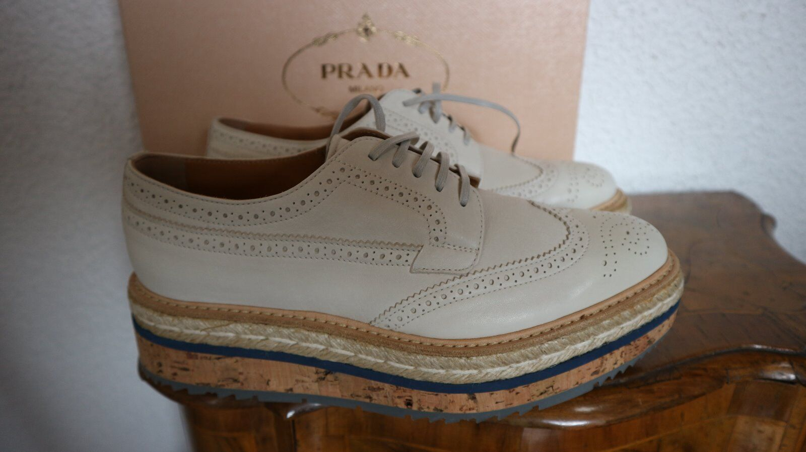 Original Schuhe PRADA Schuhe Original Halbschuhe Sneaker,Leder,Korken,Gr.39,Neu,Karton+SB 52ad2e
