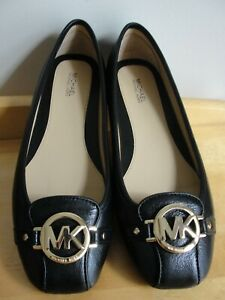 Michael-Kors-Women-039-s-Fulton-Ballet-Flat-Shoes-8-5M-black-leather