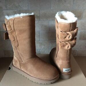 323083ec321 Details about UGG Allegra II Double Bailey Bow Chestnut Suede Fur Tall  Boots Size 9 Womens