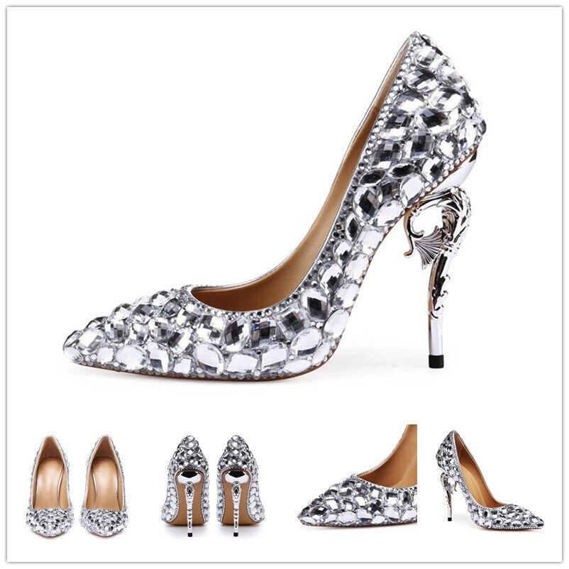 Rhinestone Pointy Toe High Heels shoes Womens Wedding Party Dresses Stilettos A1