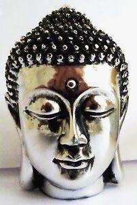 Buddha-Kopf-Statue-Feng-Shui-Silber-Indien-13-cm-Deko-Porzellan