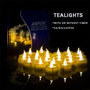 24-60-100pcs-Flickering-LED-Tealights-with-Timer-Candles-Flameless-Light-Party