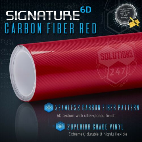 """60/""""x108/"""" In Vinyl Wrap Bubble Free Air Release 6D Full Gloss Red Carbon Fiber"""