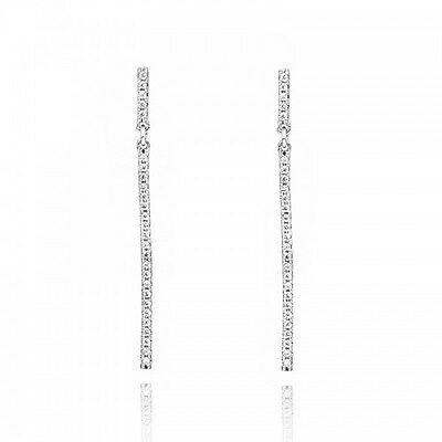 LOVELY 18K WHITE GOLD PLATED GENUINE AUSTRIAN CRYSTAL THIN LONG DANGLE EARRINGS