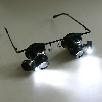20X Watch Magnifier Jeweler Magnifying Eye Glasses Loupe Len Repair LED Light TM