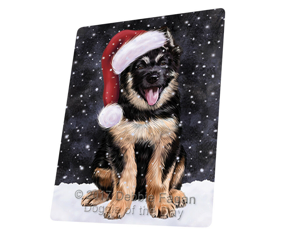 Let it Snow Christmas Holiday German Shepherd Dog Woven Throw Sherpa Blanket T85