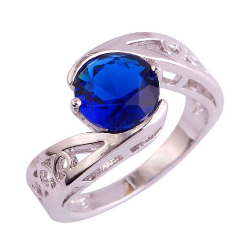 Solitare Gifts Round Cut Sapphire Quartz Gemstone Silver Ring Size 6 7 8 9 10 11
