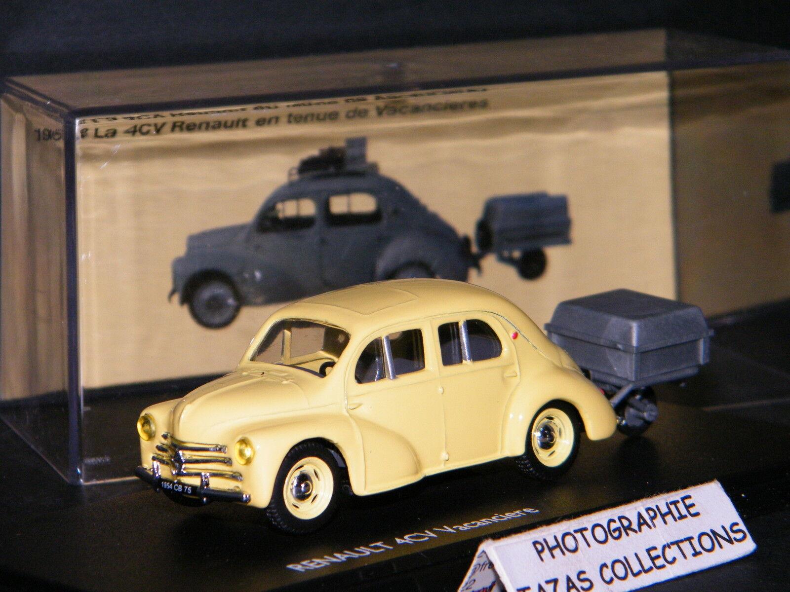 RENAULT 4CV VACANCIERE 1958 AVEC REMORQUE BAGAGERE - ELIGOR 1 43 Ref 101020