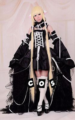 Chobits Chii Cosplay Kostüm costume Abend-Kleid Lolita Gothic Schwarz black tail