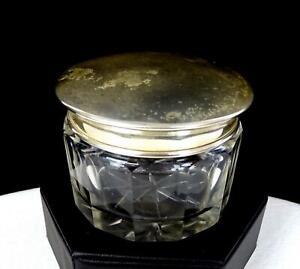 "WALLACE ANTIQUE STERLING SILVER & PANELED GLASS 2 1/8"" DRESSER JAR 1850's"