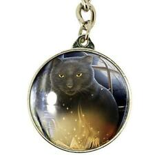 Bewitched Nemesis Now glass Key ring Lisa Parker black cat burning book wiccan