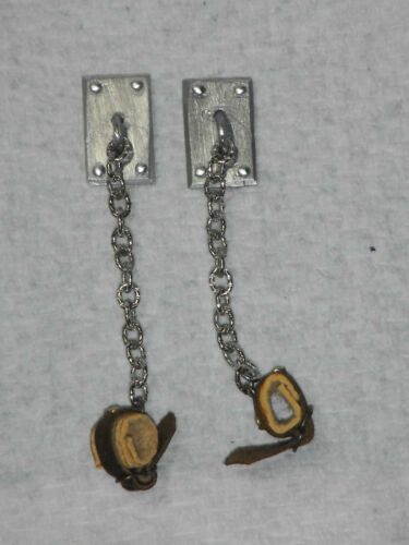 Dollhouse miniature handcrafted 1//12th scale ankle restraints chain cuffs asylum