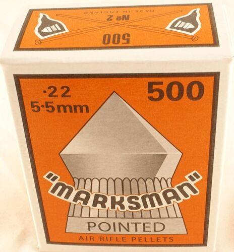 1000 x .22 Marksman Pellets Pointu Pour Air Pistolet Fusil Pistolet 5.5 mm 2 Boîtes