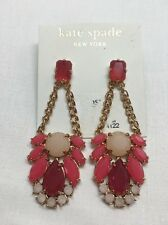 NEW Authentic Kate Spade New York KSNY Red Pink Chain Link Drop Earring $78