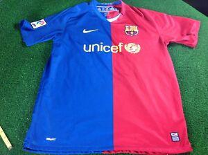 Vintage-08-09-Barcelone-Messi-Grand-NIKE-soccer-football-shirt-jersey-terrasse-Wear