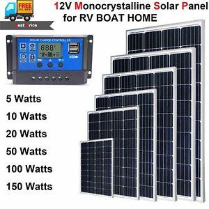 Monocrystalline-Solar-Panel-Charge-12V-Battery-Power-10W-100W-for-RV-Marine-Home