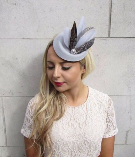 Grey Brown Silver Pheasant Feather Pillbox Hat Hair Fascinator Races Vtg 3687