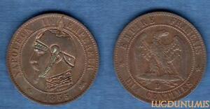 2nd-Empire-1852-1870-10-Centimes-Satirique-II-1855-D-Lyon-Napoleon-III