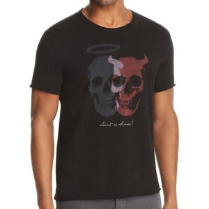 John-Varvatos-Star-USA-Men-039-s-Short-Sleeve-Saint-or-Sinner-Skulls-T-Shirt-Black