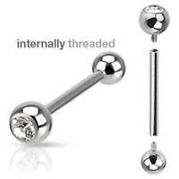 Internally Threaded 316L Surgical Steel Barbell CZ Ball