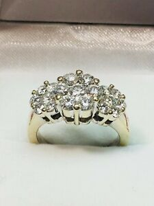 2.00 Ct Round Cut Moissanite Anniversary Ring 14K Solid Yellow Gold ring Size 6