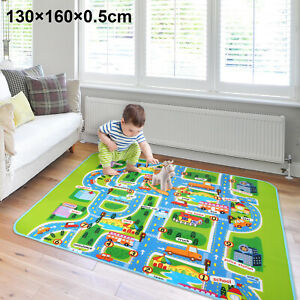 130x160cm-Children-039-S-ROAD-MAP-Kids-Play-Mat-Tappeto-Auto-Da-Corsa-Runner-Nursery-Casa-UK