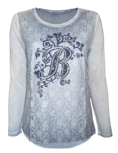 44 46 NEU 10 BOYSEN`S Damen Shirt Langarmshirt Spitze jeansblau used Look GR