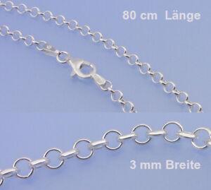 Echt-925-Silber-Ankerkette-in-3-Breite-rund-Laenge-80-cm-inkl-Verschluss-Kette