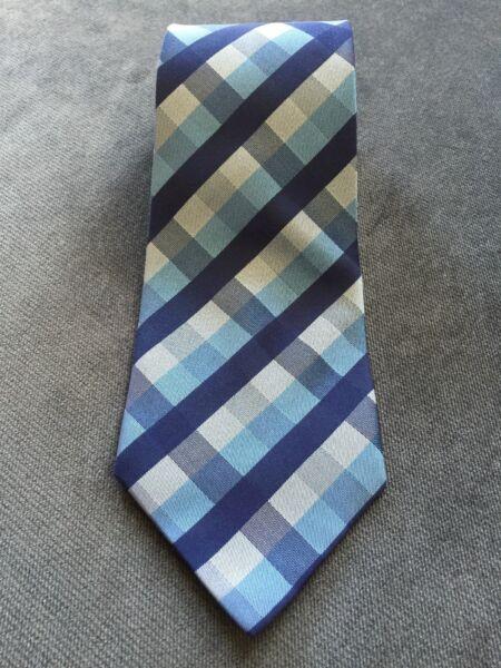 2019 Moda Silk Blu/bianco/grigio Misto Colore Cravatta Da Uomo Nuovo Di Zecca. Fabbricazione Abile