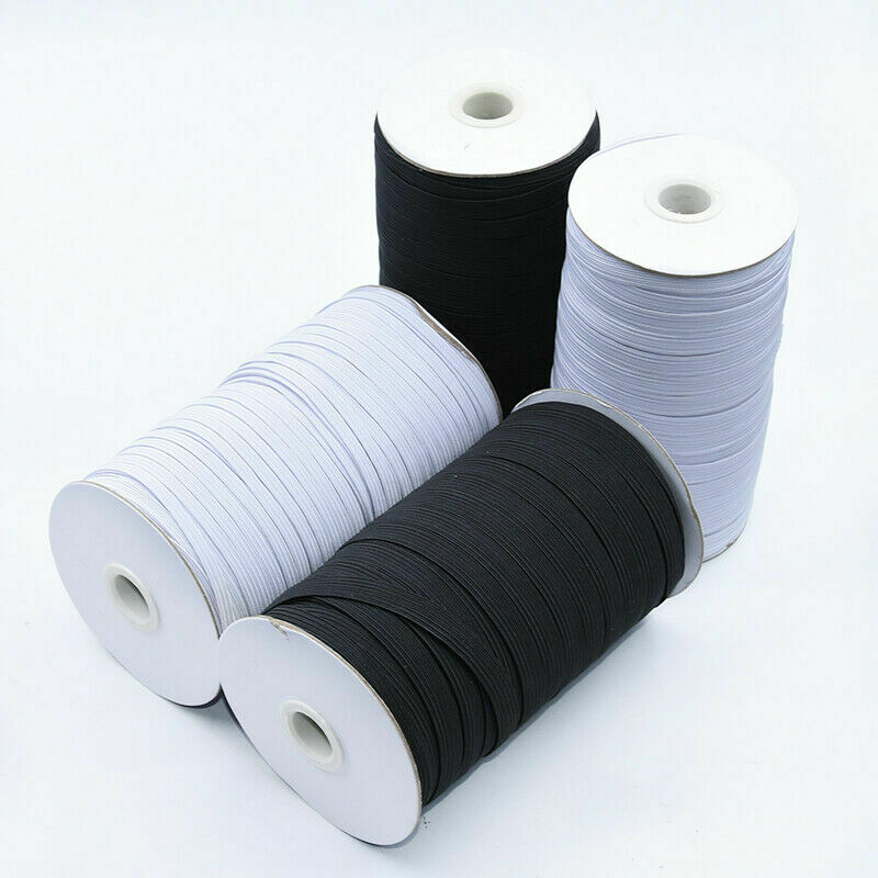White//Black 5 yard 6mm 500 Yards Elastic Band 1//4 inches width