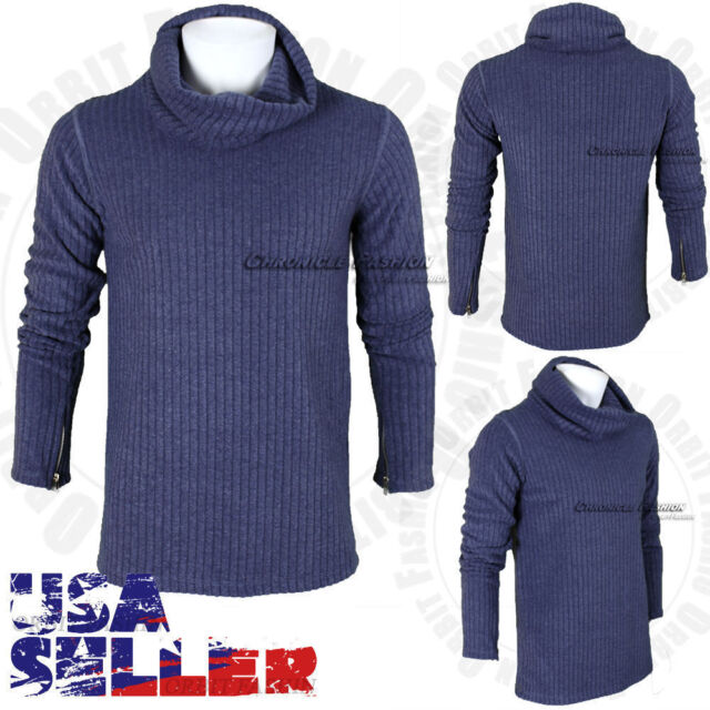 COOFANDY Mens Quarter Zip Sweater Slim Fit Casual Knitted Turtleneck Pullover Mock Neck Polo Sweater
