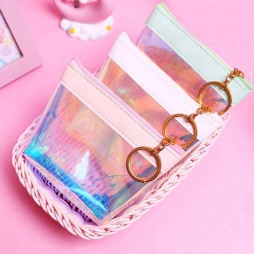 Women Waterproof Transparent PU Jelly Money Holder Pouch Laser Storage bag