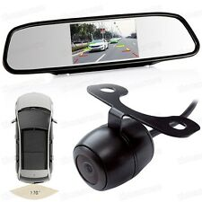 "4.3"" Screen TFT Car LCD Rear View Monitor Mirror DVD AV 12V + Backup Camera Set"