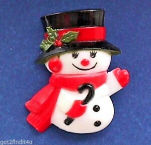 Hallmark-PIN-Christmas-Vintage-SNOWMAN-GIRL-with-CANE-Holiday-Brooch-DATED-1977