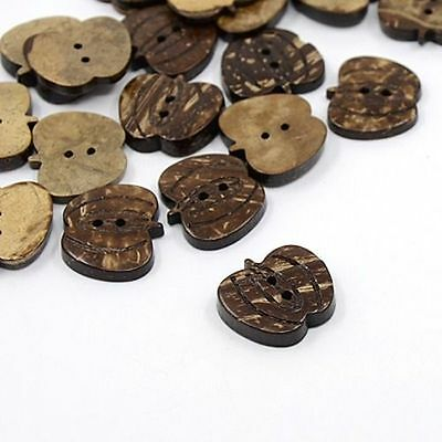 100 pcs Coconut Buttons 2-Hole Pumpkin Coffee 19x21x5mm Wood Sewing Findings