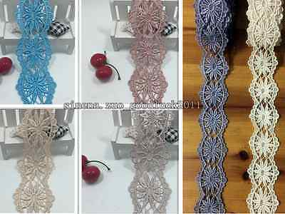 1 Yard Lace Trim Ribbon Polyester Clothes Applique Embroidered Sewing Craft FL92