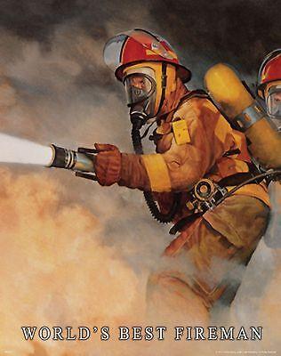 Firefighting Motivational Poster Art World's Best Fireman Christmas Gift MVP323