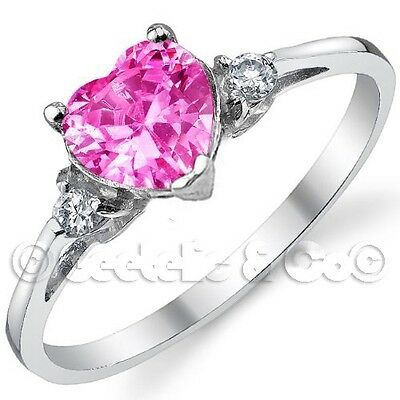 Sterling Silver Heart Shaped 3 Stone Engagement Promise Wedding Ring Size 3-11