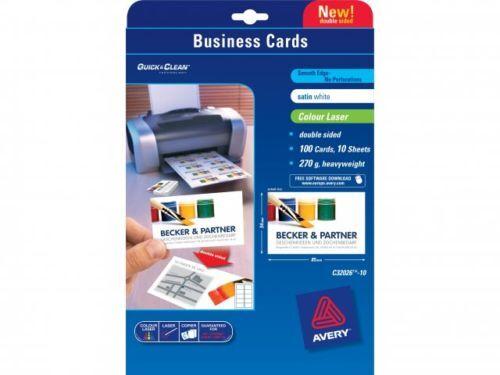 Avery Dennison C32026 10 Cartes De Visite Pour Imprimante Laser Blanc