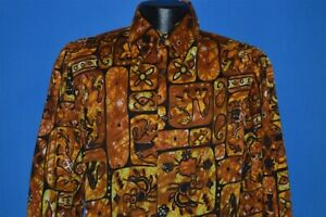 Vintage 60s da Vinci Tiki Tribal LS Rinde Tuch Aloha Hawaii Shirt Medium M