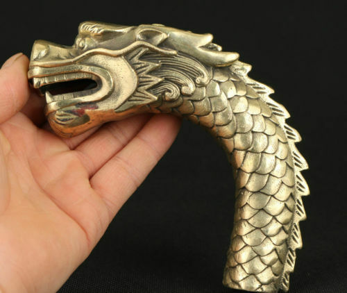 ASIAN CHINESE OLD COPPER HAND CARVED FEROCITY DRAGON STATUE WALKING STICK HEAD