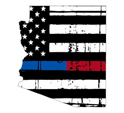State of Georgia Red Blue Tattered Flag Various Sizes Thin blue line decal