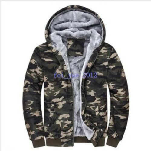 Hot Men/'s Winter Camo Military Jackets Thick Velvet Hooded Zip Coat Hoodies Size
