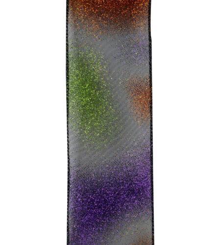 "Brand New Maker/'s Halloween Glitter Ribbon 2.5/"" x 12/' Wire Edge"