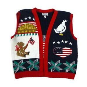 VTG-Sweater-Loft-Women-039-s-L-Patriotic-Americana-Folk-Art-Sweater-Vest-USA-Made